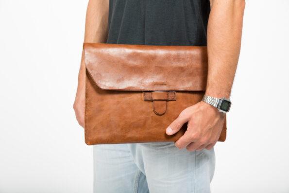 hecho Ledertasche MacBook, Apple, handgefertigt, fair trade, leather bag , sleeve, case, Huelle, Tasche, Leder