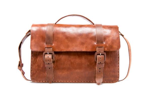 hecho Schultertasche Luca, ledertasche fair trade, handgefertigte Aktentasche, fair trade leather bag