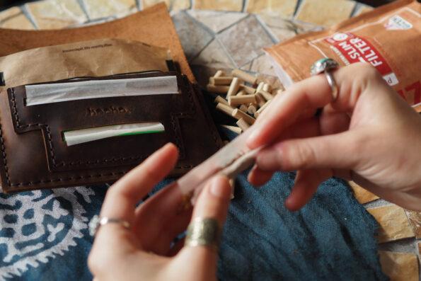 Tabakbeutel aus echt Leder, handgefertigte Tabaktasche, Drehertasche fair gehandelt, Tabaketui fair trade