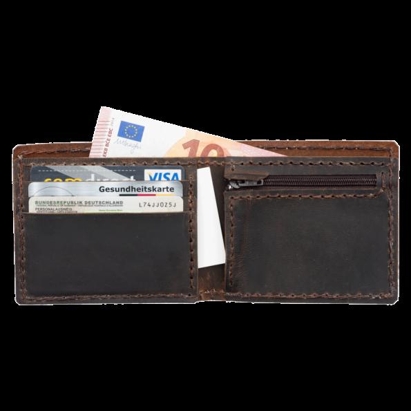 Portemonnaie für Kleingeld, Scheine und Karten. Handgefertigt aus 100% echtem Leder. Geldbörse, Kleingeldbörse, Brieftasche
